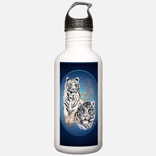 Two White Tigers Oval  Water Bottle