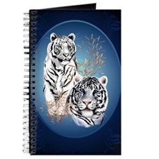 Two White Tigers Oval LargePoster Journal