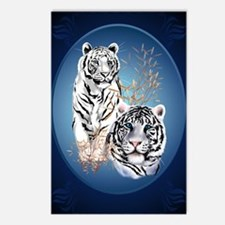 Two White Tigers Oval Lar Postcards (Package of 8)