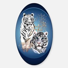 Two White Tigers Oval LargePoster Decal