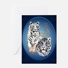 Two White Tigers Oval LargePoster Greeting Card