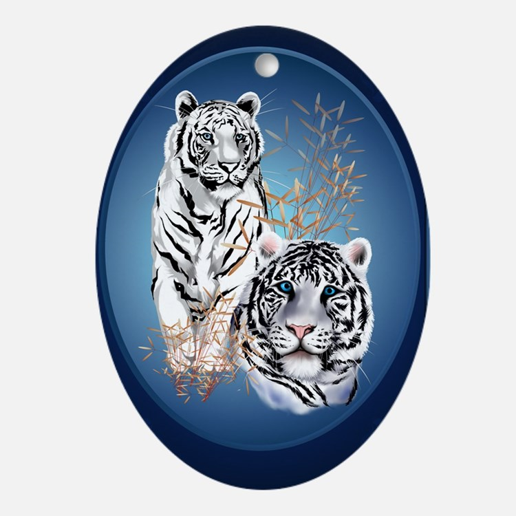 Two White Tigers Oval LargePoster Oval Ornament