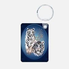 Two White Tigers Oval Larg Keychains