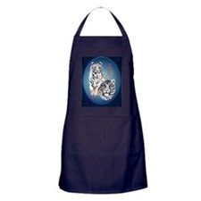 Two White Tigers Oval LargePoster Apron (dark)