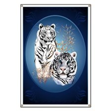 Two White Tigers Oval LargePoster Banner