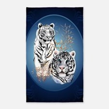 Two White Tigers Oval LargePoster 3'x5' Area Rug