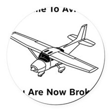 Aviation Broke Style 2 black Round Car Magnet