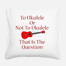 funny red ukulele musical ins Square Canvas Pillow