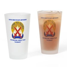 10TH MTN DIV-4BCT WITH TEXT Drinking Glass