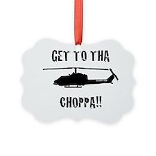 Black Choppa Picture Ornament