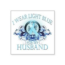 "I Wear Light Blue for my Hu Square Sticker 3"" x 3"""