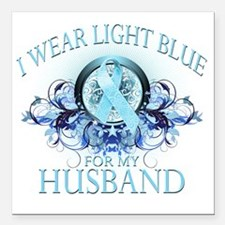 """I Wear Light Blue for my Square Car Magnet 3"""" x 3"""""""
