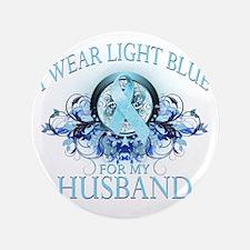 "I Wear Light Blue for my Husband (flor 3.5"" Button"
