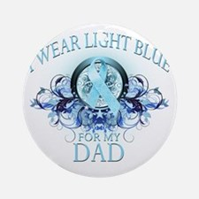 I Wear Light Blue for my Dad (flora Round Ornament
