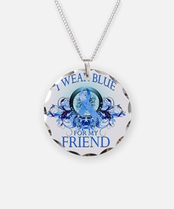 I Wear Blue for my Friend (f Necklace Circle Charm