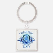 I Wear Blue for my Dad (floral) Square Keychain