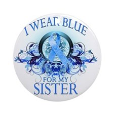 I Wear Blue for my Sister (floral) Round Ornament