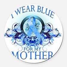 I Wear Blue for my Mother (floral Round Car Magnet