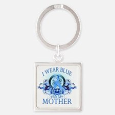 I Wear Blue for my Mother (floral) Square Keychain
