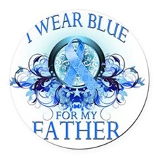 I Wear Blue for my Father (floral Round Car Magnet