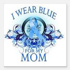 """I Wear Blue for my Mom ( Square Car Magnet 3"""" x 3"""""""