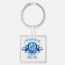 I Wear Blue for my Mom (floral) Square Keychain