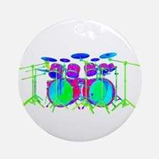 Colorful Drum Kit Ornament (Round)