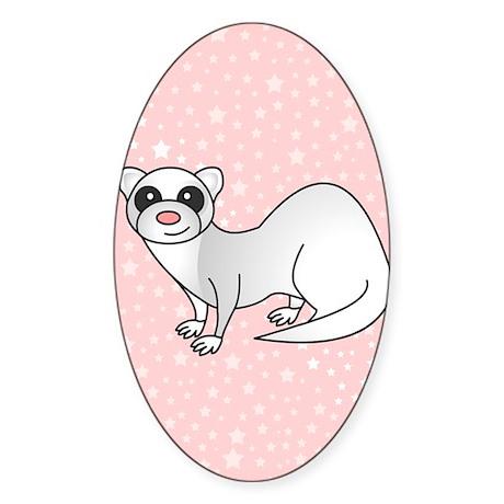 Silver Ferret Pink Star Sticker (Oval)