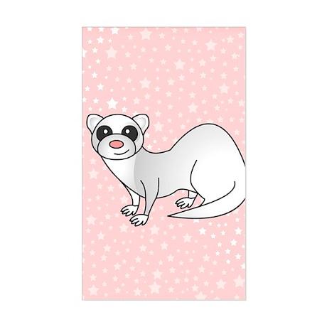 Silver Ferret Pink Star Sticker (Rectangle)