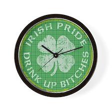 irish pride drink up bitches copy 2 Wall Clock