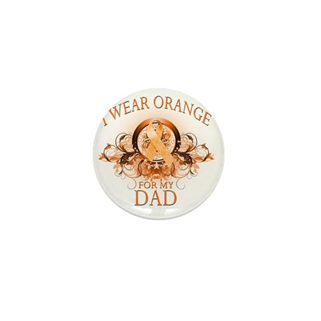 I Wear Orange for my Dad (floral) Mini Button