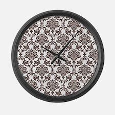 Brown Damask Large Wall Clock