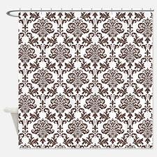 Brown Damask Shower Curtain