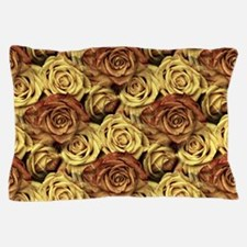 Golden Roses Floral Pillow Case