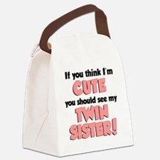 Think Im Cute Twin Sister Canvas Lunch Bag