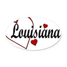 Love Louisiana Hearts Oval Car Magnet