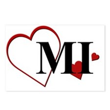 MI Michigan Heart Postcards (Package of 8)