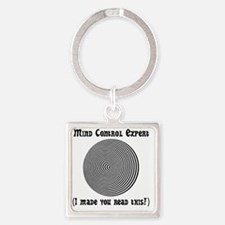 Mind Control Black Square Keychain