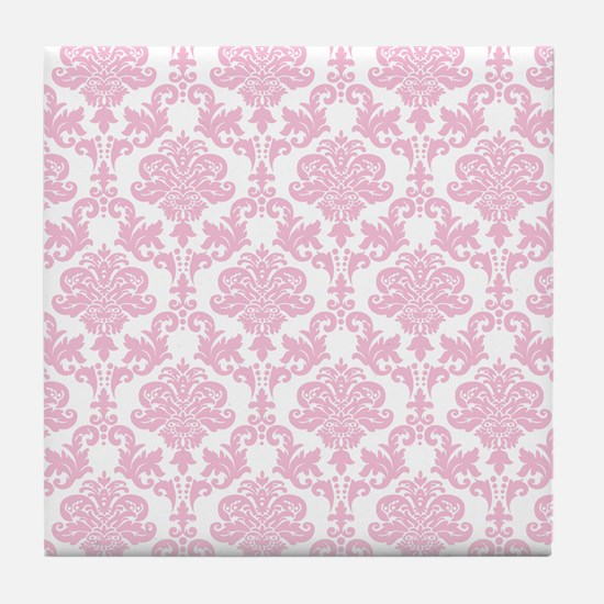 Pink Damask Tile Coaster