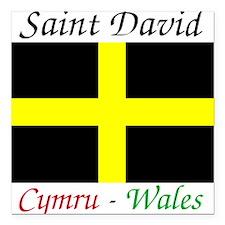 "Flag_of_Saint_David-Ligh Square Car Magnet 3"" x 3"""
