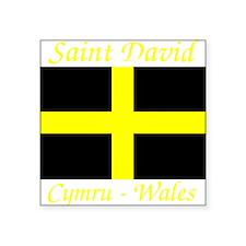 "Flag_of_Saint_David-Dark Square Sticker 3"" x 3"""