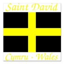 "Flag_of_Saint_David-Dark Square Car Magnet 3"" x 3"""