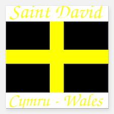 """Flag_of_Saint_David-Dark Square Car Magnet 3"""" x 3"""""""
