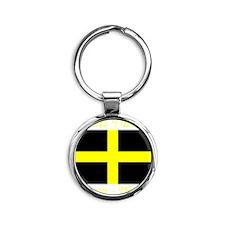 Flag_of_Saint_David-Dark Round Keychain