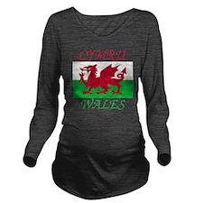 Wales-Cymru Long Sleeve Maternity T-Shirt