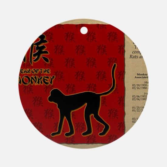 czodiac-09-monkey Round Ornament