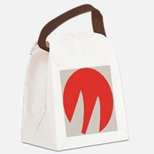 Red  Grey Canvas Lunch Bag