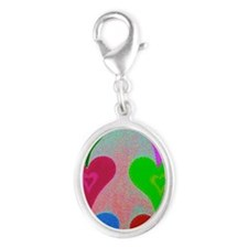 Touching Hearts Violet 23x35 Silver Oval Charm