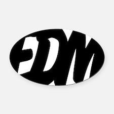 EDM Brushed W Oval Car Magnet