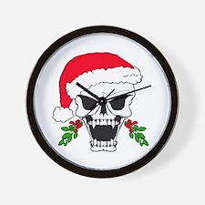 Santa skull Wall Clock
